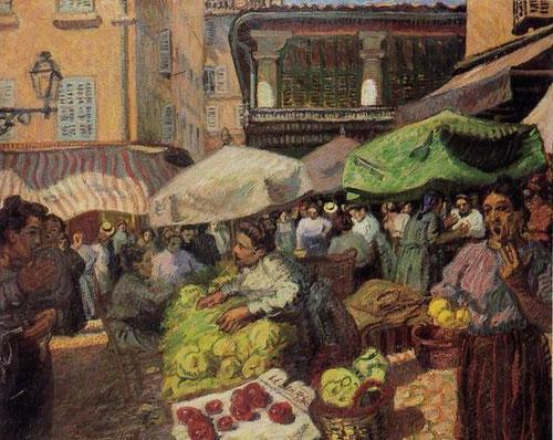 """Raoul Dufy experimentó un cambio brusco desde 1903, fecha en la que pintó Le Marché à Marseille...luego subiría tonos y colores hasta recibir las críticas """" de los torpes juegos de niños con con una caja de colores o un bote de pintura lanzado a la cara"""""""