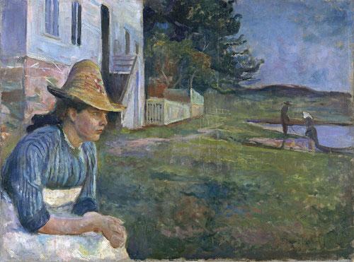 Atardecer,pertenece al Museo Thyssen,representa a su hermana Laura junto a una casa cercana a la orilla,enferma de esquizofrenia funde asociaciones personales a la melancolía,inaugurando un tipo de composición simbólica,aunque muy anclado al impresionismo