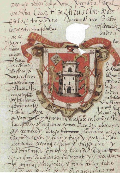 Escudo de armas de la ciudad de Huexotzingo, en Nueva España. Como prueba de fidelidad,hechos memorables dignos de ser recordados, siguiendo normas heráldicas...