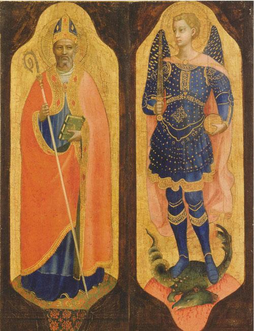 """San Nicolas de Bari y San Miguel Arcángel.Aquí la mezcla de colores es más suave,sobre una base de tierra verdosa""""verdacio"""" con bermellones.Temple, plata y oro sobre tabla de chopo.>Arp Museum Bahnhof Rolandseck."""