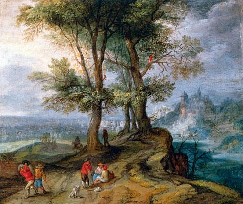 Jan Brueghel el Joven.Campesinos regresando del mercado.1630.Óleo sobre cobre montado sobre tabla.12x15cm. Colección privada.