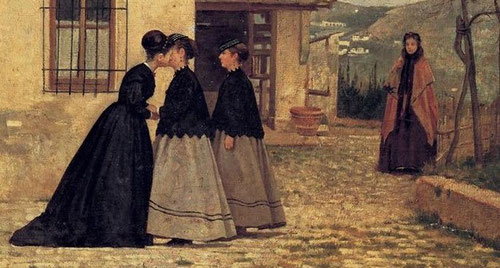 Detalle de la visita de Silvestro Lega, una recuperación analógica del Beato Angélico que trasciende..es el silencio mágico de las formas, toda una renovada modernidad del Quattrocento