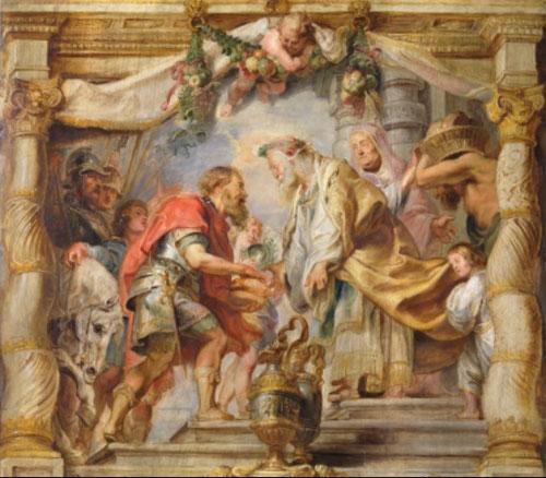 Encuentro de Abraham y Melquisedec,1625.Óleo sobre tabla.65x68cm.Madrid,Museo Nacional.Según el Génesis Melquisedec(capa dorada) rey sacerdote de Sodoma recibe a Abraham,este intercambio del pan,es la prefiguración de la Eucaristía