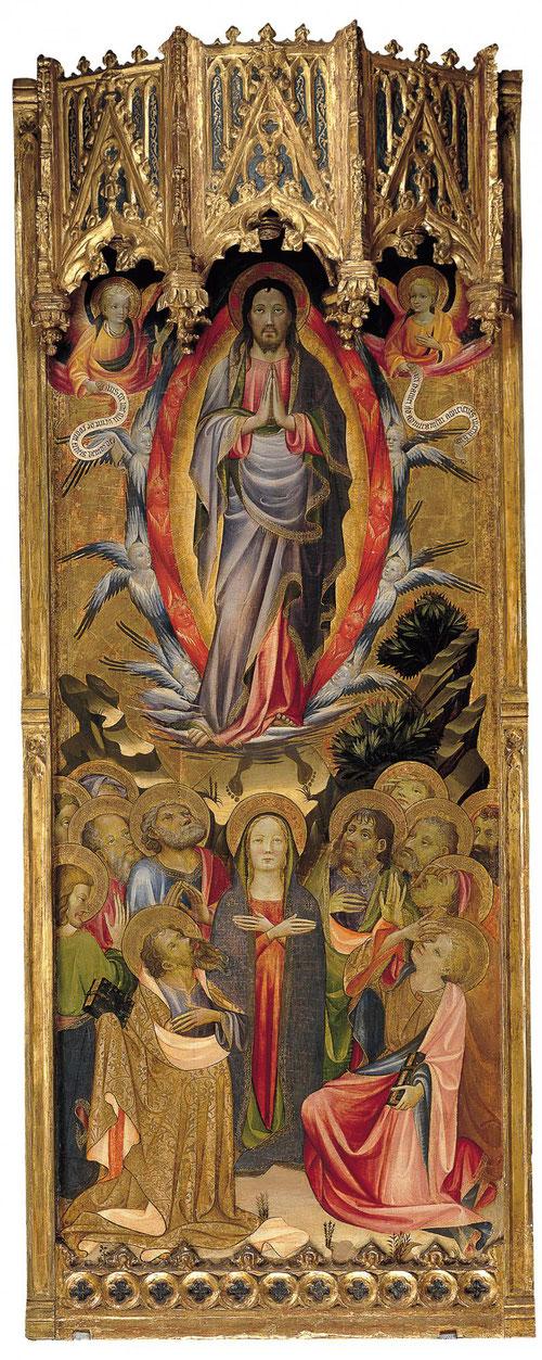 El donante de esta tabla, Vicente Gil aparece arridillado a la derecha de la Virgen, arrodillada bajo Cristo ascendente, atribuido a Miguel Alcañiz.