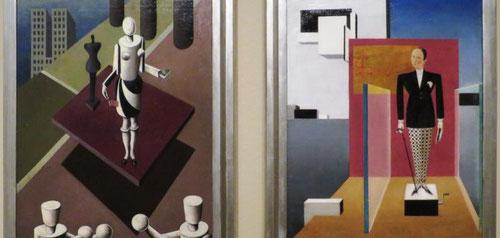 Sándor Bortnyik,el nuevo Adán y la nueva Eva,1924.Una buena muestra del arte húngaro influido por el expresionismo y cubismo. Ideología de la Bahaus constructivista, vivió en Weimar...ofrece una crítica de la vision del suprematismo ruso y la manipulación