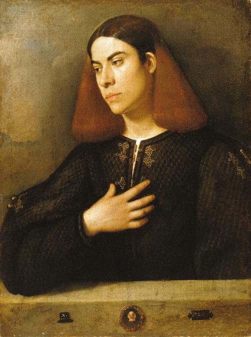 Giorgione.Retrato de un joven.1508-10. Budapest Museum. El ensimismamiento de la mirada,le permite captar la personalidad y el estado de ánimo,prototipo belliniano, pincelada suelta, un sfumato leonardesco, captando una intensidad psicológica emocional.