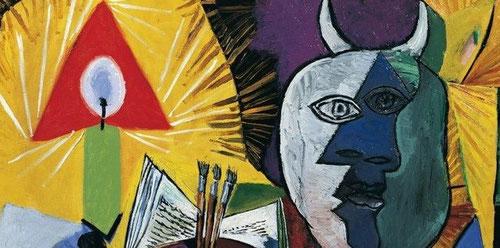 Esta obra,forma parte de una secuencia de cuatro obras en las que el Minotauro acaba siendo sustituido por el toro.La luz de la vela,sutil,a la izquierda y del mismo tamaño del minotauro,su alter ego,reactualizando su propia vida.