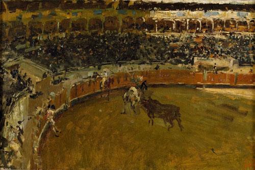 Corrida de toros, hacia 1867.Óleo sobre lienzo.Museo del Prado. Dentro de la rica y sugerente iconografía taurina,mostró interés por la embestida del caballo, así como por la figura del picador.