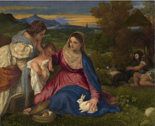 Tiziano pinta La Virgen del conejito para medirse con los pintores del Norte a través de la cuidada representación de la flora, el conejo o el cesto con la manzana del pecado original simbólica.