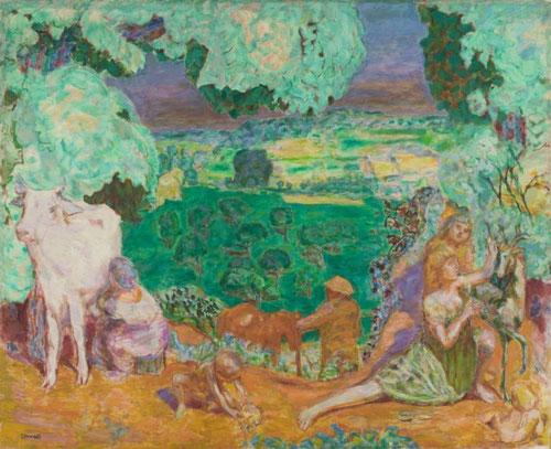 Sinfonia pastoral de Pierre Bonnard.Un mundo ideal en completa sintonía con el hombre, con una interpretación lírica de la naturaleza donde lo real se fusiona con lo imaginario.