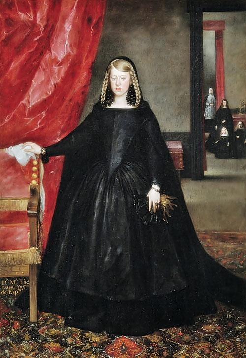 Juan Bautista Martínez del Mazo,Dña Margarita de Austria,1665.Margarita de luto por su padre extiende su brazo al respaldo y deja caer su mano izquierda.Al fondo una dama de honor y Cralos II con el Toisón.