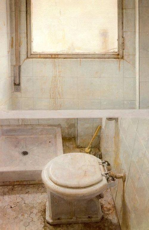 Interior del váter.Antonio López,taza de WC y ventana,1968-71.Óleo sobre papel adherido a tabla.143x93cm.Colección Masaveu. El tiempo devorador de las cosas,el óxido,las mordeduras ,suciedad,enacarnan los estragos de la edad y una sensación claustrofóbica