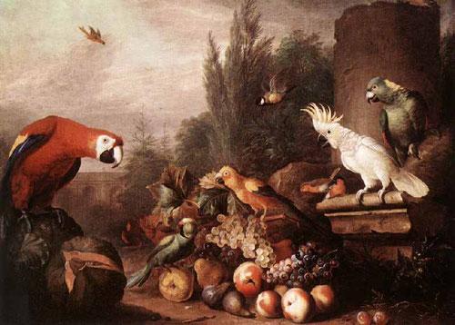 Jakab Bogdány.Bodegón de frutas 1710. Pájaros exóticos con coloridos plumajes y desordenados grupos de frutas.Suele tener un lejano fondo de paisaje y algún elemento arquitectónico. La mayor parte de su obra se encuentra en Inglaterra decorando castillos