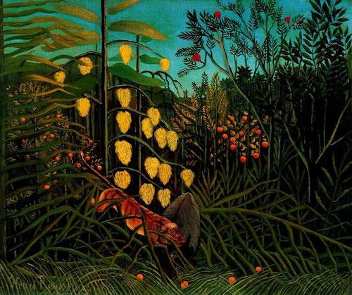 Rousseau, el Aduanero.1908.Ataque de un tigre a un toro en la selva tropical. Fruto de una inspiración naif.
