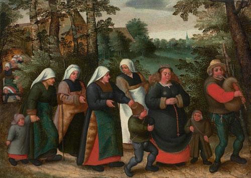 Marten van Cleve. La procesión de la novia.Óleo sobre tabla.33x68cm. Colección privada.