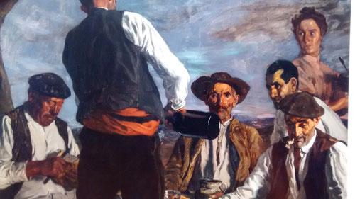 La sobriedad del realismo tiene su antecedente en la obra velazqueña, son temas renovados de la temática vasca, como La Merienda. Su pintura trasciende y retoma la iconografía del Siglo de Oro. Simbolismo, tradición y modernidad.