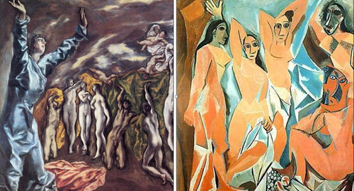 En la acuarela preparatoria de Picaso para Las Señoritas de Aviñon en 1907 (Modern Arta N.York) es muy notoria la cercania del Greco de los realces de la luz.A la izq.La Visión de San Juan,Metropolitan Museum,N.York,1608.