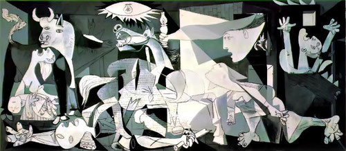 El Guernica se erige en el delator de la violencia y el horror,que pretende concienciar a la humanidad del dolor del pueblo español,todo un manifiesto antibelicista.
