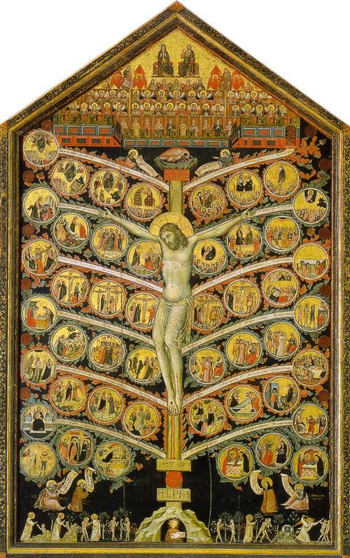 Pacino di Bonaguida, SXIV, Florencia, Galería de la Academia nos dejó la ilustración del texto escrito de S Buenaventura y los 12 misterios de la pasión de Cristo, en total 48 escenas en 12 ramas.  Todo un código figurativo con intención didáctica.