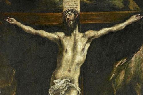 Cristo en la Cruz.98x57cm.El Greco (1541-1614) Cielo grisáceo y resplandores..escorzo de Jesús, quien eleva su cabeza al cielo,al fondo vista de Toledo y puente de Alcántara. El carácter triunfante prevalece sobre el dolor.