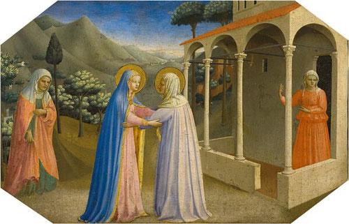 2-La Visitación de María a su prima Isabel en un pórtico.Temple al huevo,plata y oro labrado sobre tabla de chopo.