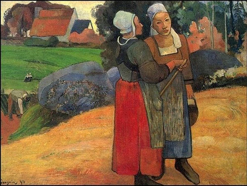 Paul Gauguin.Paysannes bretonnes,1894.66x92cm Creador de un nuevo canon exótico con su huida a Tahití. Sintetismo de Gauguin utiliza el color de manera arbitraria.Evoca orientación simbólica-mistica. Hermoso silencio armonioso.