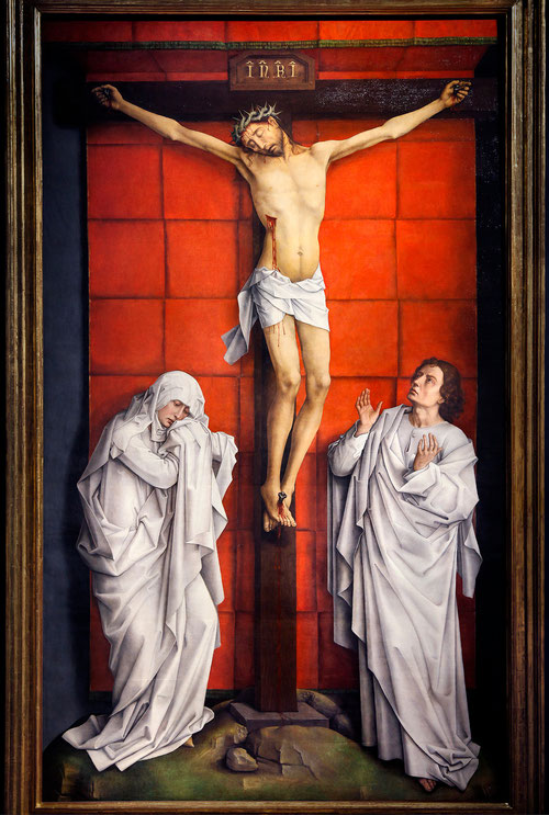 Rogier van der Weyden.El Calvario,1457-64.Óleo sobre tabla de roble,323x192cm.Patrimonio Nacional.Real Monasterio de S. Lorenzo del Escorial.Según inventario procede de la Cartuja de Scheut,cerca de Bruselas.Gran sensibilidad para el tratamiento de formas
