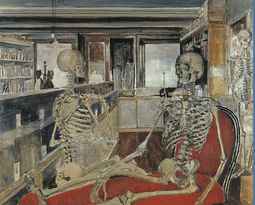Paul Delvaux.Los esqueletos,1944.Óleo y tinta china sobre tabla.84x90cm.Colección privada en depósito en Museé d´Ixelles, Bruselas.