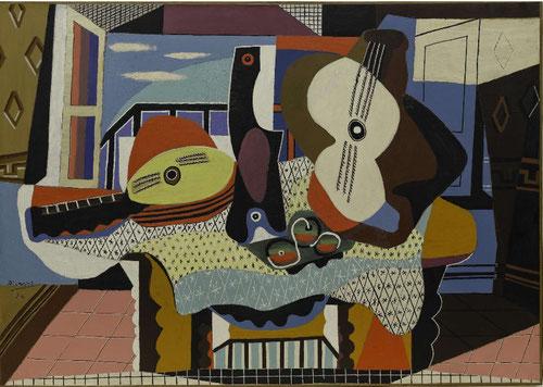 """Mandolina y guitarra 1924.Óleo y arena sobre lienzo.140x200cm.Museo Guggenheim N. York.Muebles,colchas,florituras son""""individuo""""hecho carne.Ningún otro estilo se adentró tanto en el espacio de la posesión que el cubismo.El cubo es en esencia la habitación"""