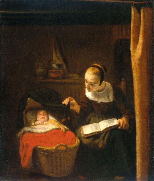 Nicolas Maes.Mujer joven junto a una cuna 1652-62.Óleo sobre lienzo 33x28cm. Amsterdam Rijksmuseum