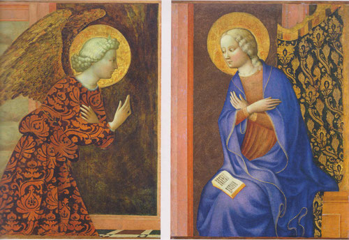 Estas tablas pertenecian a un retablo de la Anunciación, Ella reza el libro abierto por el pasaje de Isaias que predice el anuncio del ángel.Las similitudes de Masolino con Fra Angelico son mas que evidentes.