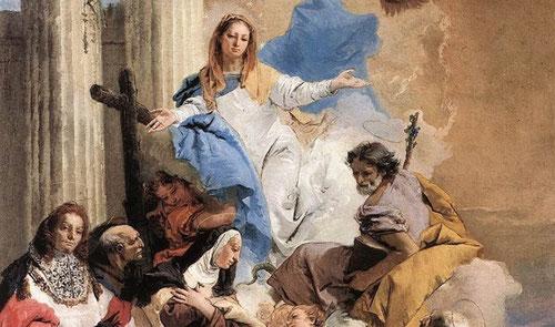 """Tiépolo.La Virgen exhortando a santa Teresa que nombre San José protector de la Orden Carmelita.1749.Iconografía compleja que pone de manifiesto la """"sprezzatura"""" o soltura técnica por excelencia y todo un desafío intelectual para el cliente.Sorprende ."""