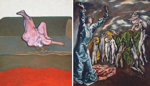 FRANCIS BACON(1909-1992) converge características en su obra como pasión,angustia,vitalidad... no muy lejos del Greco este desnudo tumbado:Mujer tumbada 1963.
