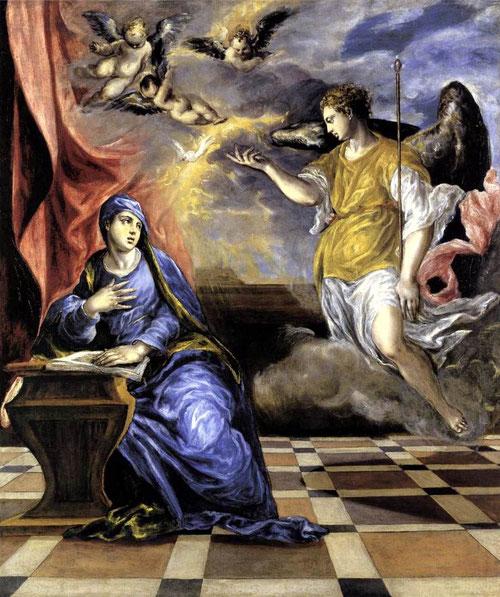 La Anunciación.Greco,1576,Museo Thyssen.117cmx98cm.Escenario sencillo que sirve de marco para la Virgen a la izquierda en su reclinatorio,quien recibe la visita del arcangel con referencias al Veronés.La luz y el color muestran la admiración por Tiziano.