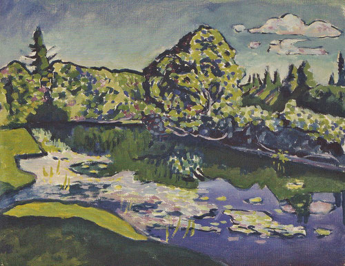 Akhtyrka.Estanque del parque,1917.Óleo sobre lienzo libre.29x37cm.Legado de Nina Kandinsky.