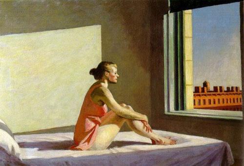 """E Hopper.Sol de mañana,1952.Óleo sobre lienzo.71x101cm.Columbus Museum of Art. Hopper confiere a la luz una dimensión espiritual que cohesiona a los seres diseminados por el cosmos. """"Son anunciaciones sin teología ni promesa"""""""