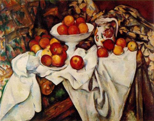 """Paul Cézanne.Pommes et oranges 1899.74x93cm. Impresionismo """"a plein air"""".Trata la naturaleza a través del cilindro,el cono y esfera. Todo un universo completo aparentemente ingenuos pero con un campo de fuerza increible."""