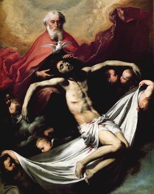 Detalle del triángulo equilatero que simboliza la Trinidad sobre la cabeza de Dios Padre. Ribera.