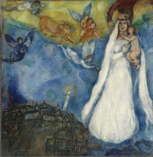 La Virgen de la aldea. 1938-42.Museo Thyssen. La Virgen con el niño en brazos rodeada de ángeles músicos junto a una pequeña aldea, invita al espectador del SXX a entender una sencilla escena, María como madre de Dios. Cuadro del mes de Enero 2012
