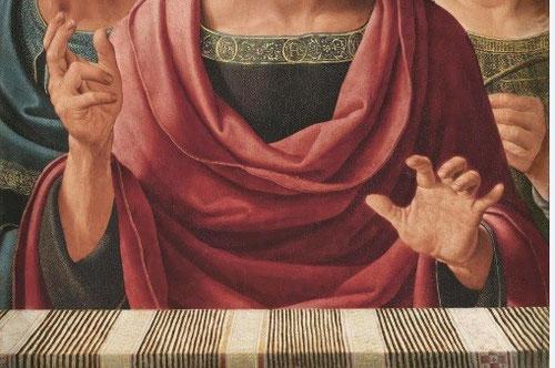 Detalle de Salvator Mundi, de Yañez de la Almedina. La mano de Cristo proyectada hacia el espectador y el muro en primer plano ayudan a acentuar la perspectiva y profundidad.