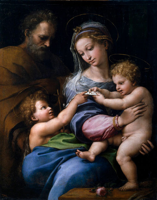 "Virgen de la Rosa.Rafael. 1516.Óleo sobre tabla transferido a lienzo 1516. ""Ecce agnus dei"" Museo del Prado, Madrid."