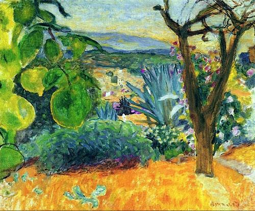 Pierre Bonnard.Vista de Le Cannet 1927.Óleo sobre lienzo.43x61cm.Centre Pompidou.Musée National d´Art Moderne..Su último refugio en Le Bosquet le supuso unos reflejos coloristas, todo un hechizo de paisaje donde prevalece el color a la línea.