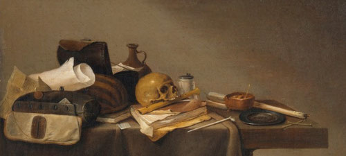 Pieter Steenwijck.Emblema de muerte 1635-40.Museo del Prado.Madrid.Son tan similares las formas de pintar en Holanda y España que apenas se aprecian diferencias si conocemos a sus autores.