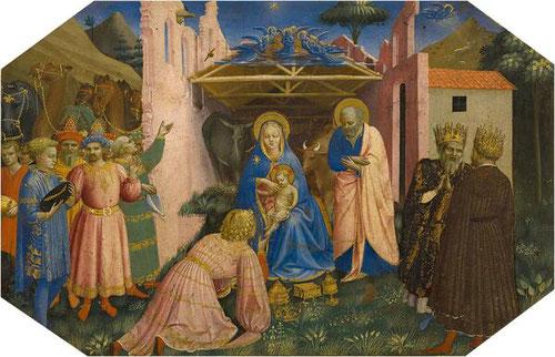 3- El Nacimiento del Niño Jesús.Temple al huevo, plata y oro labrado sobre tabla de chopo.