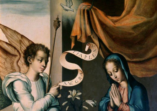"""Detalle de Anunciación pertenece al Museo del Prado.El arcangel Gabriel saluda a María y le anuncia que va a ser la Madre de Dios (Lc 1,26-38)Sus alas doradas y túnica blanca despliega una filacteria""""Ave Gratia Plena"""".Las azucenas simbolizan la virginidad"""