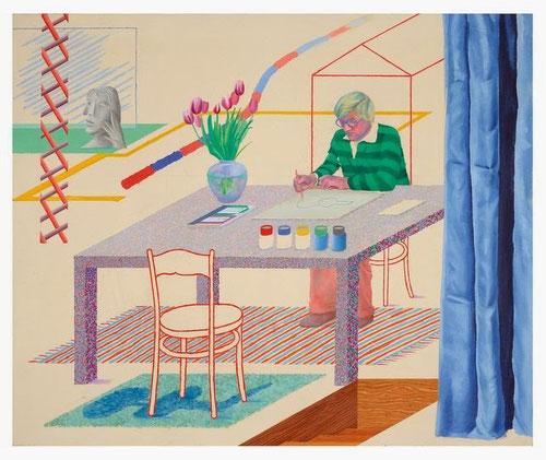 David Hockney,Autorretrato con guitarra azul,1977.Óleo sobre lienzo.152x182cm.Aquisgrán. El pintor se retrata dibujando una guitarra inspirado en el periodo azul de Picasso, estableciendo un juego de equívocos entre realidad e imagen pintada.
