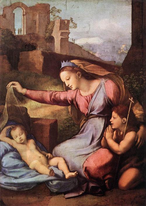 Gianfrancesco Penni? Pintó esta Virgen de la diadema azul, con ciertas torpezas anatómicas pero con un juego emocional interesante.