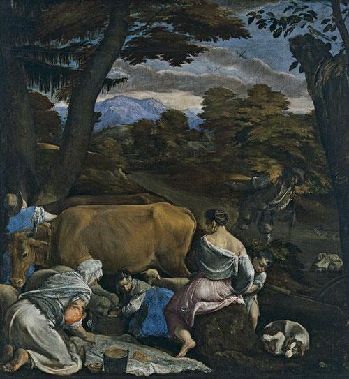 Jacopo Bassano interpreta la Parábola del sembrador como una escena pastoral, una imagen de la vida rural. 1560-65.Óleo sobre lienzo.139x129cm.Museo Thyssen.