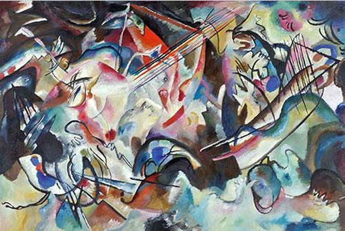 """Vasily Kandinsky, Composición VI.1913.Es su obra más significativa realizada antes de la I Guerra Mundial, creada mediante """"vibraciones espirituales"""" siendo ideas puramente estéticas y así se convierte en un manifiesto del nuevo arte abstracto."""