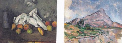 Analogías entre la naturaleza muerta y el paisaje.Los manteles evocan la silueta de la Sainte Victoire.